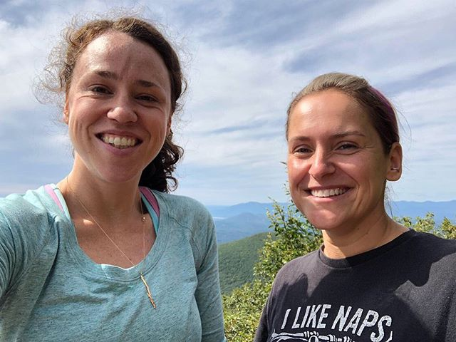 The girls went to school and we went for a hike! We showed up wearing matching @patagonia shorts! And we discovered we have matching hiking boots 😂 @ursulalucander  #hiking #catskills #overlookmountain