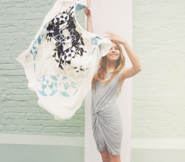 sea sage silk scarf