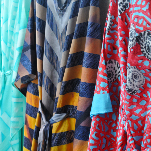 • colours of the caribbean - sea sage kaftans •