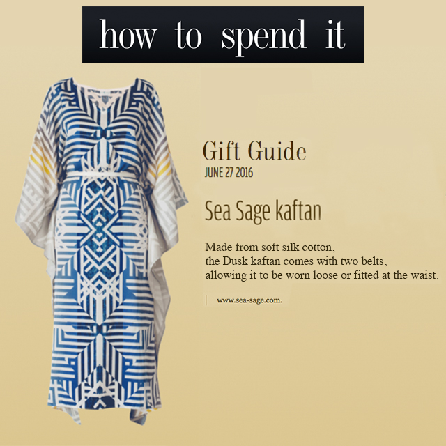 sea sage in the press: gift guide - financial times - how to spend it