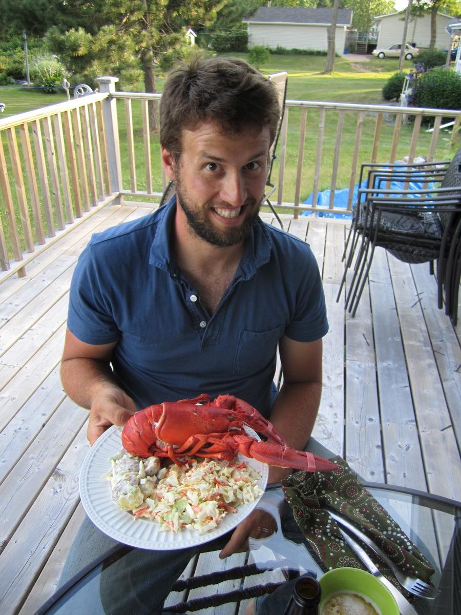 Jordan Marr with dinner