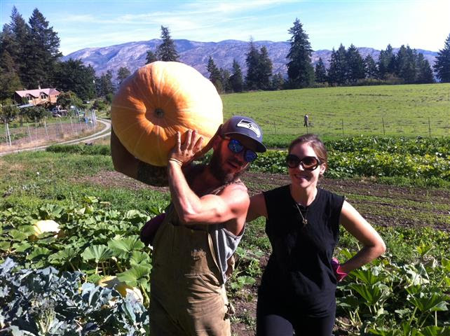 Ryan, Steph, and a pumpkin that didn't even come close to winning the Fall Fair.