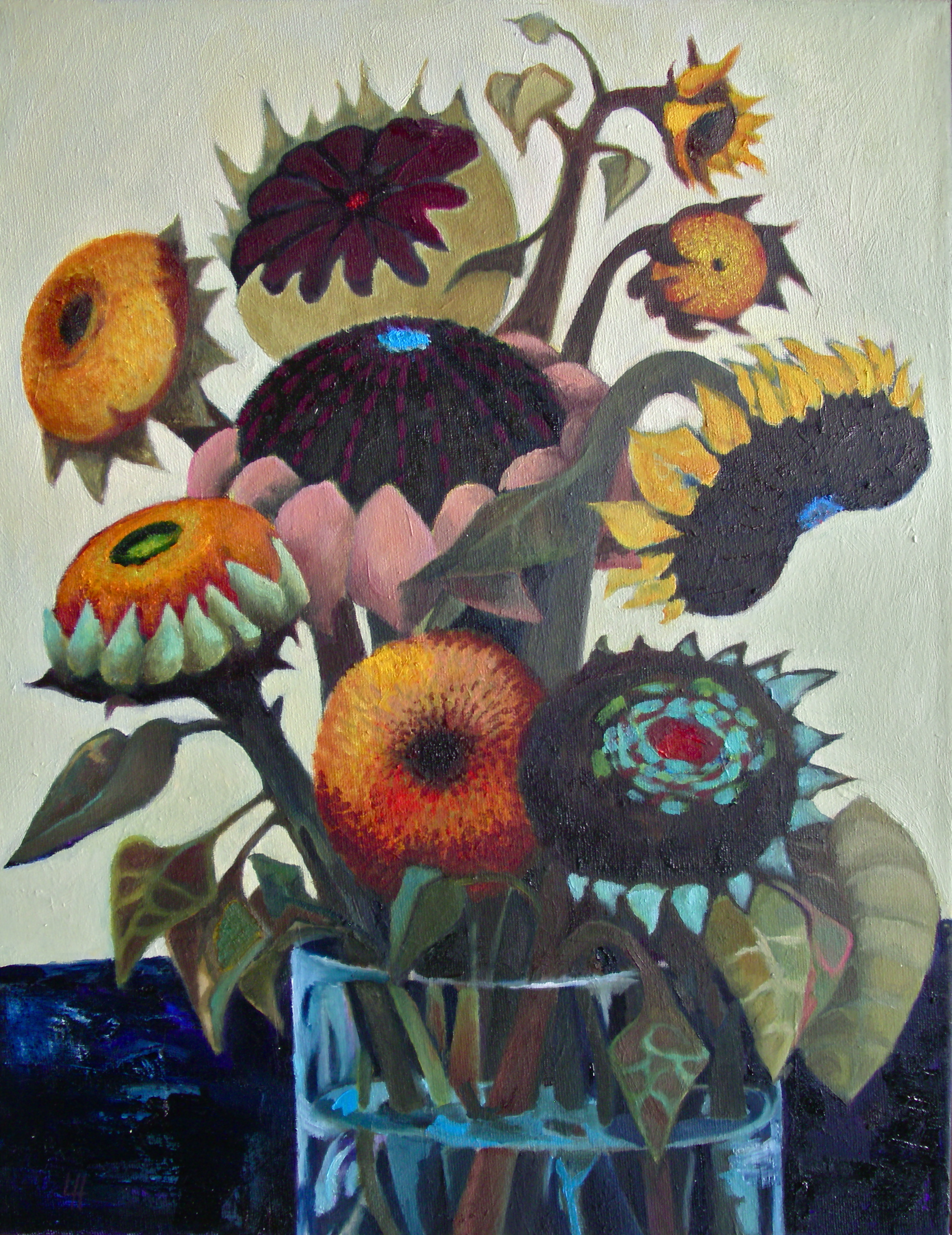 Vase of Sunflowers II  [36x46cm] oil on canvas, 2013