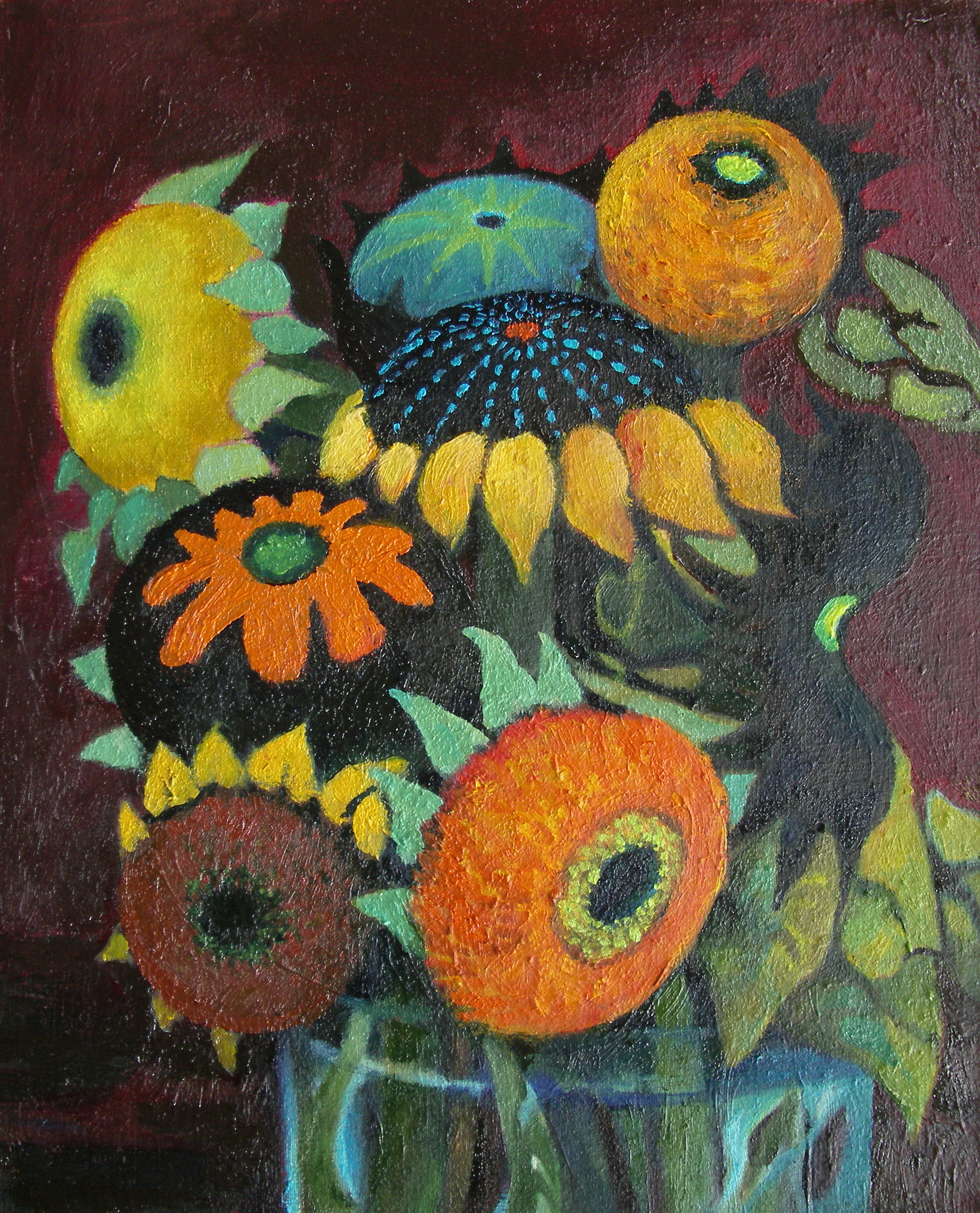 Sunflowers III red  [22x27cm] oil on board, 2013 SOLD
