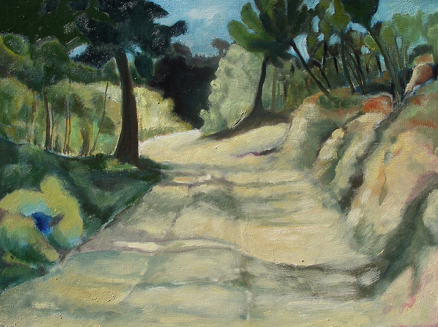 Crossroad on the Chemin [40x30cm] oil on board, 2011  Laura Hudson SOLD.jpg