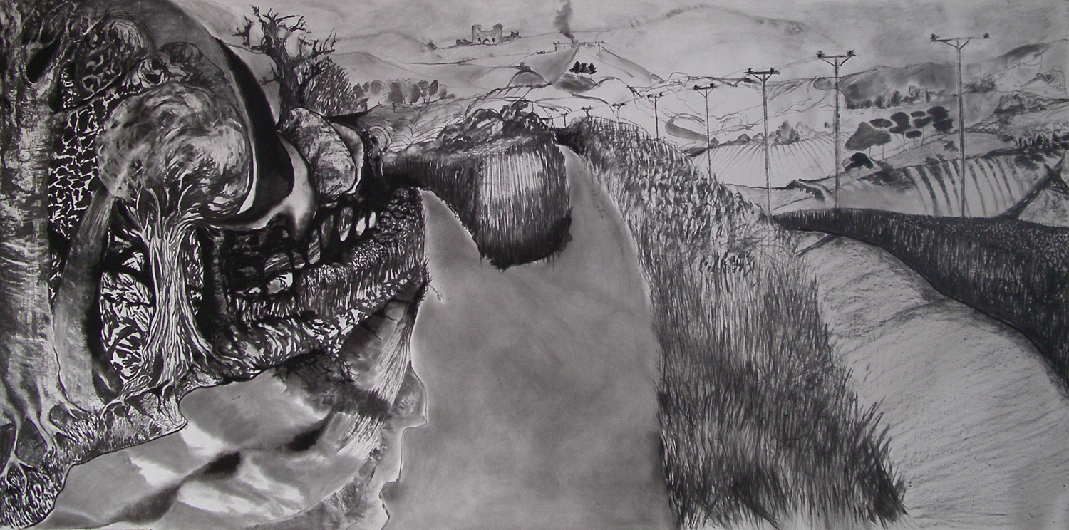 Journey to Castle Hill [1.5m x 4 m]360 Gallery, carbon and graphite on paper, 2013