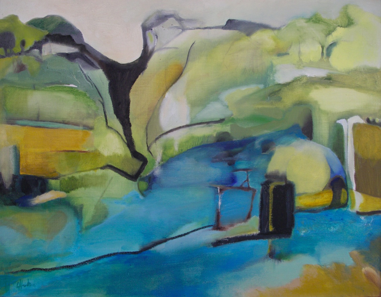 Bideford Bridge an Afterthought[46cx36cm] oil on canvas  Laura Hudson 2013