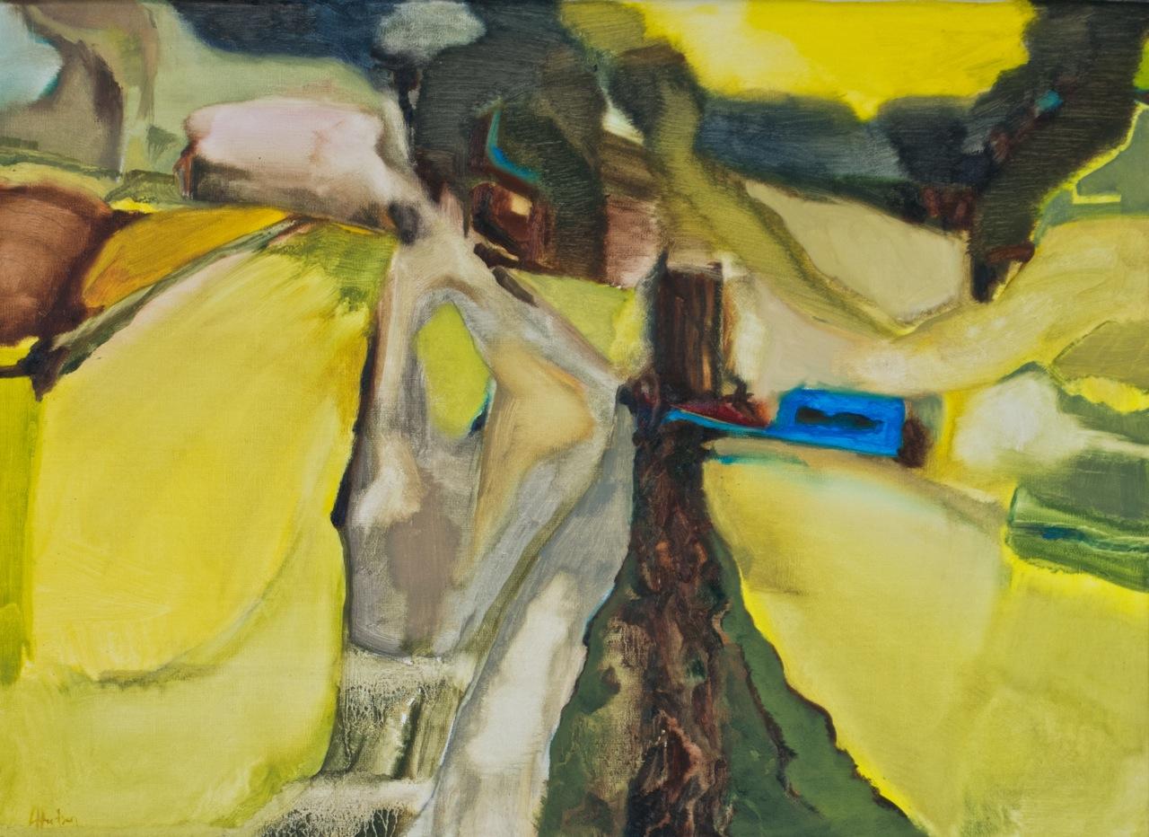 Acid Yellow Fields  [55x40cm] oil on linen, Laura Hudson 2013