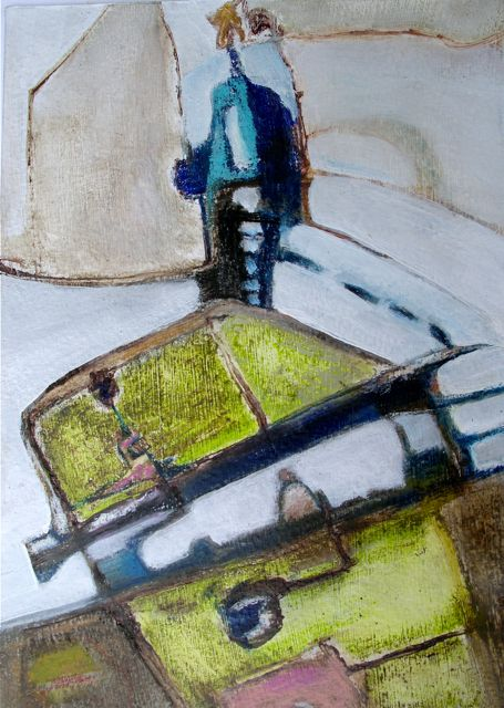 To The Lighthouse, 21x15cm, mixed media on heavy paper, Laura Hudson 2014