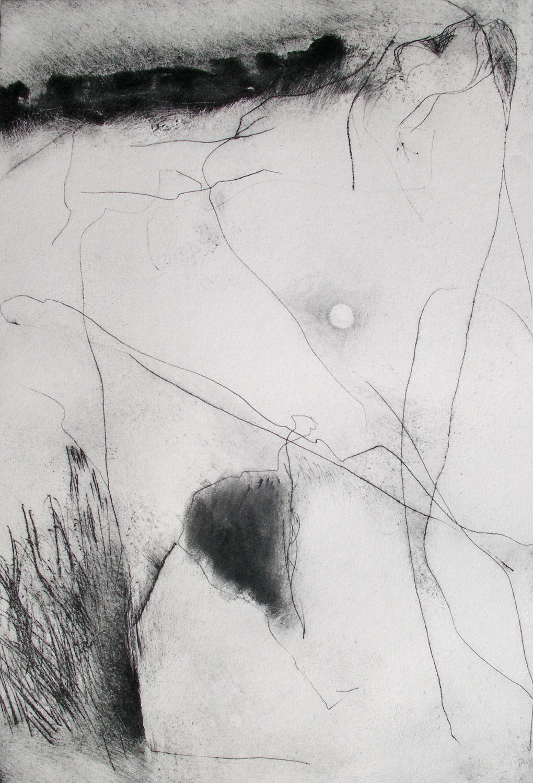 Dartmoor II [29x23cm] dry point + carbon, 2013