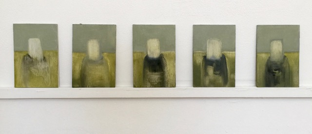 Nail House : Five Ghosts  oil on wood panels [5 x 10x15cm] 2018