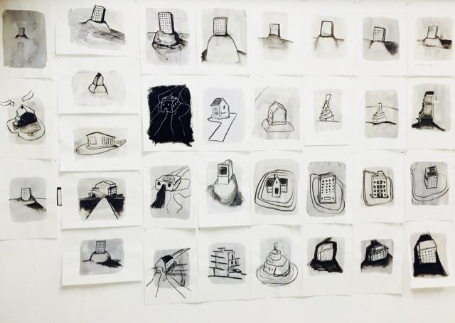 Nail House Drawing studio wall March 8 2018