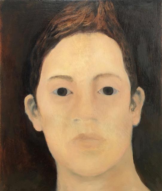 Laura Hudson, Belladonna Eyes Self-Portrait from Memory, oil on wood panel [20x23cm] 2019