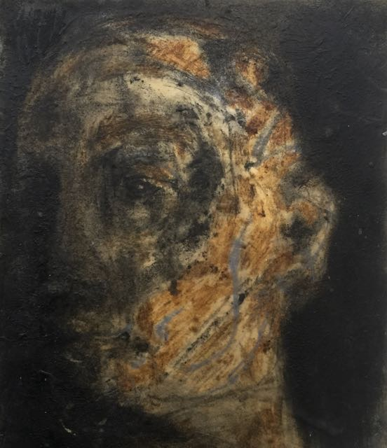Lok's Head, pigment and wax on paper pasted onto wood, 2017