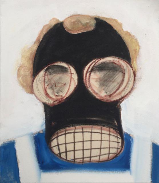 Hazmat  3 charcoal and oil paint on canvas 41x36cm