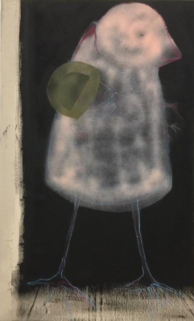 Laura Hudson Bird Keeper mixed media on canvas [55x90cm] 2019
