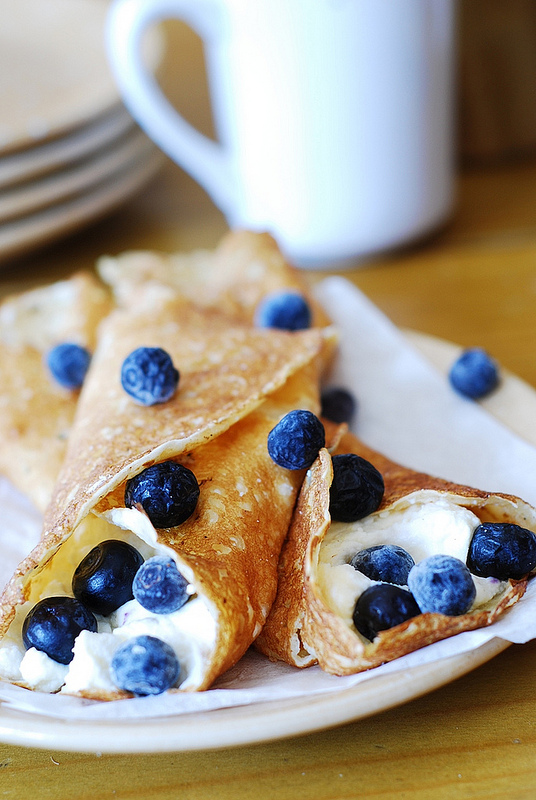 Try this crepes with ricotta cheese and blueberries recipe from  Julia's Album .  Image reprinted with permission from www.juliasalbum.com & www.healthyaperture.com