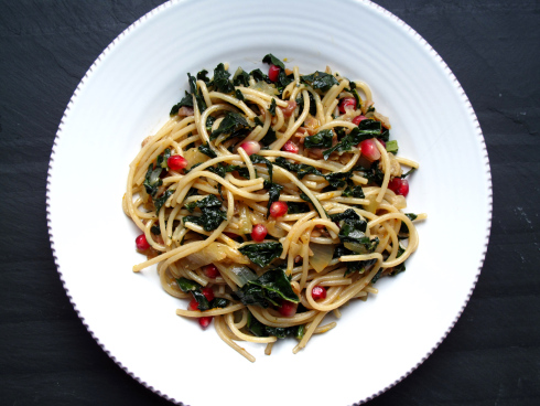 Try this  Pomegranate, Kale & Pancetta Pasta  made with brown rice spaghetti.  Image reprinted with permission from  www.eggplantandolive.com  & www.healthyaperture.com