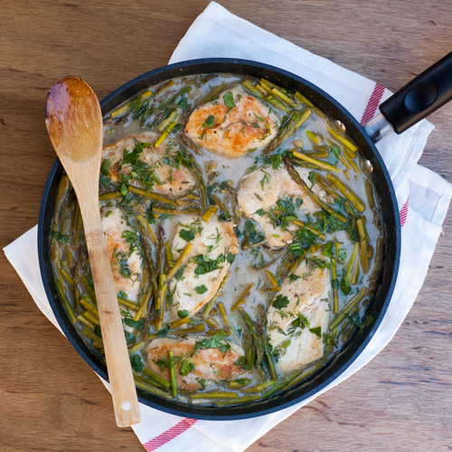 Try this Healthy Braised Chicken with Asparagus & Fresh Herbs recipe