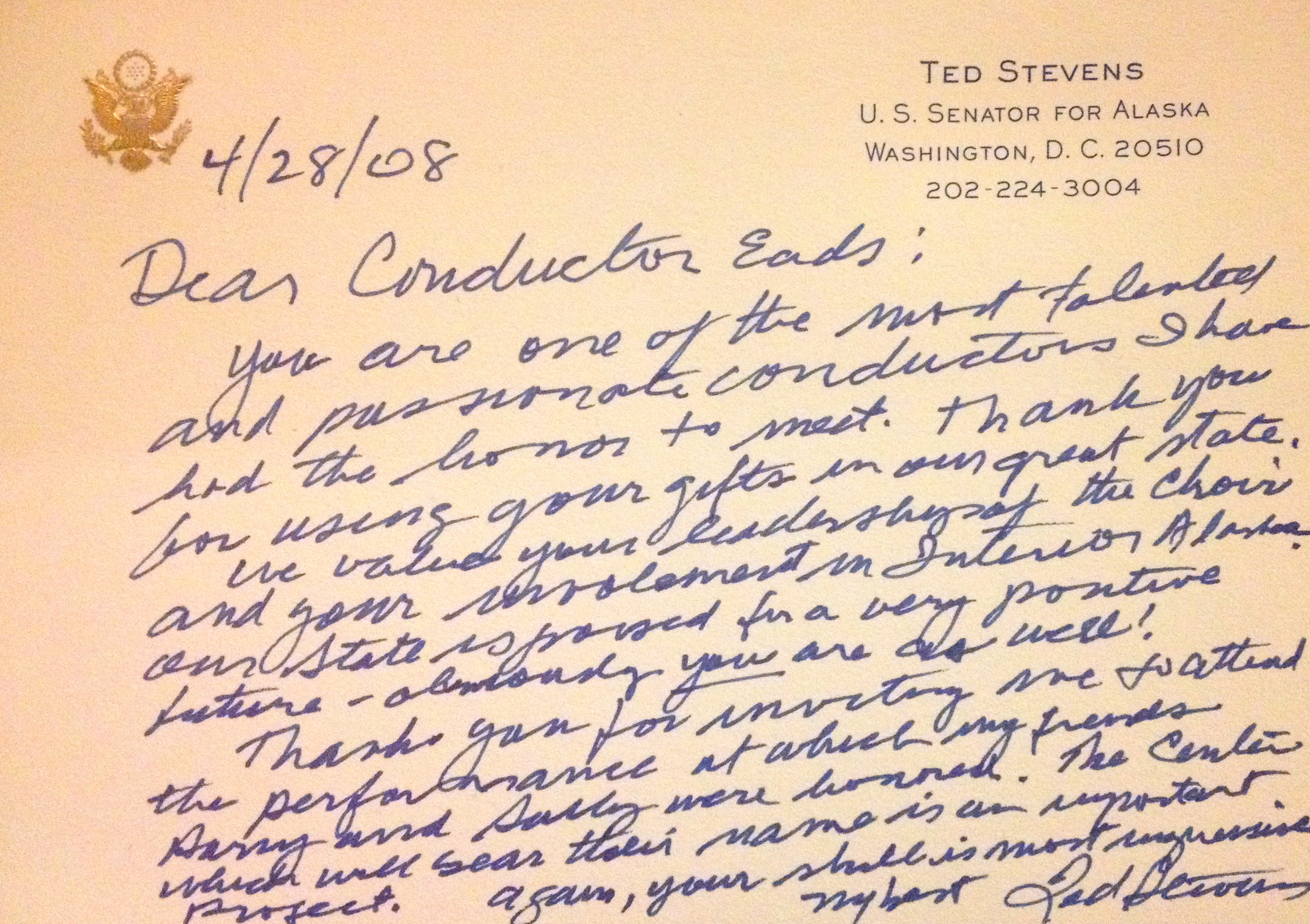 "One of my favorite ""reviews"" from the late Senator Ted Stevens."