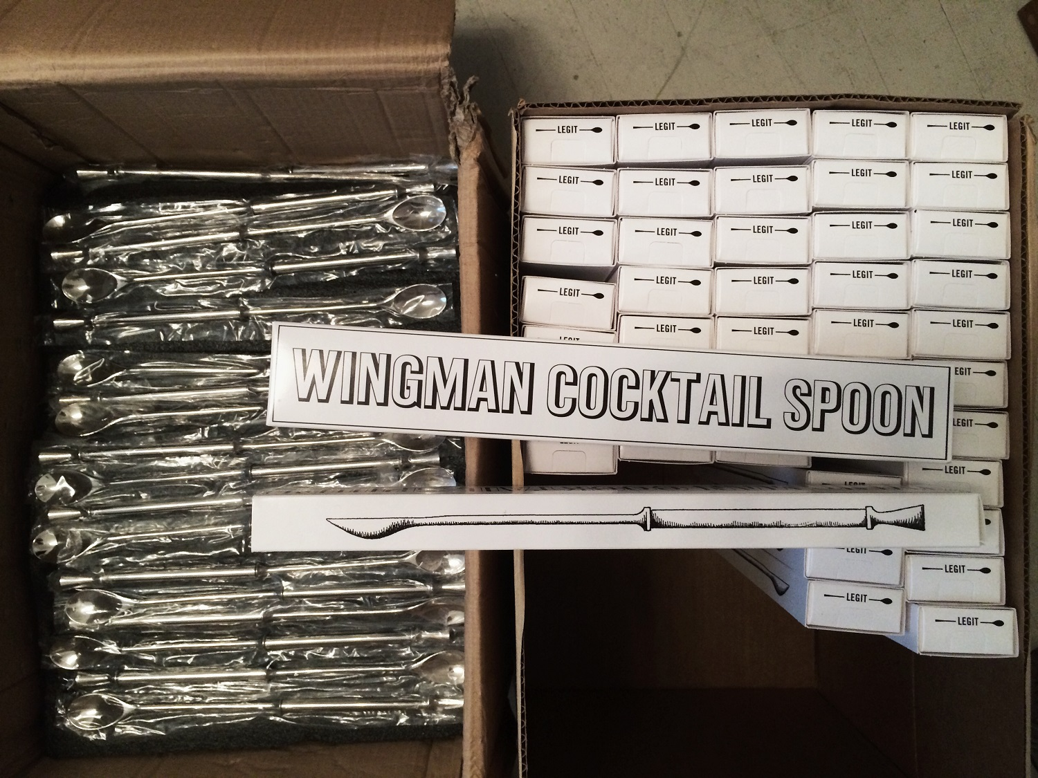 Wingman Cocktail Spoon being boxed up