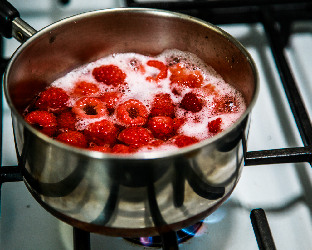 Making Raspberry Syrup for the Clover Club Cocktail Standard Spoon Barware