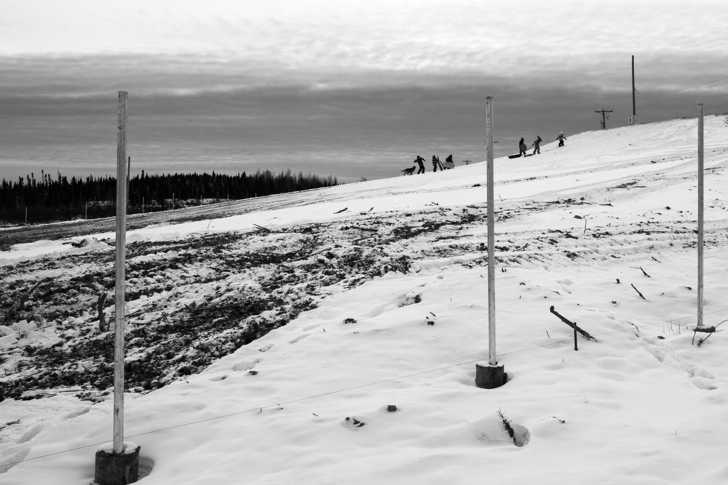 Des enfants s'amusent à glisser  après la première neige de l'année