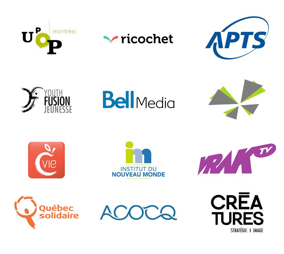 Finalement, voici les organismes et entreprises pour lesquels j'ai réalisé des vidéo en 2014.