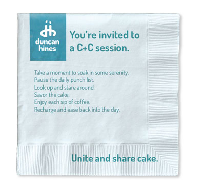 Invitations to take a mini C+C session were handed out with the deliveries and the packaging led to sharecake.com.