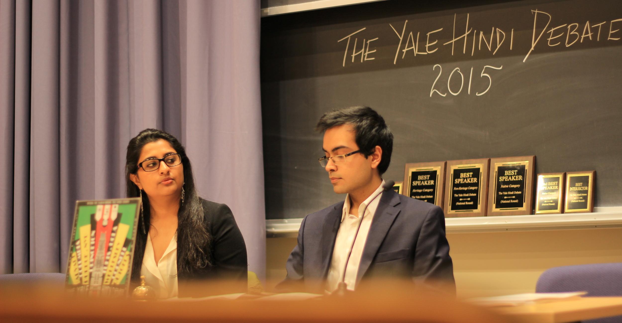 Left to right: Smita Shukla, SM '15, Student Organizer; Akhil Sud, SM '16, YHD President