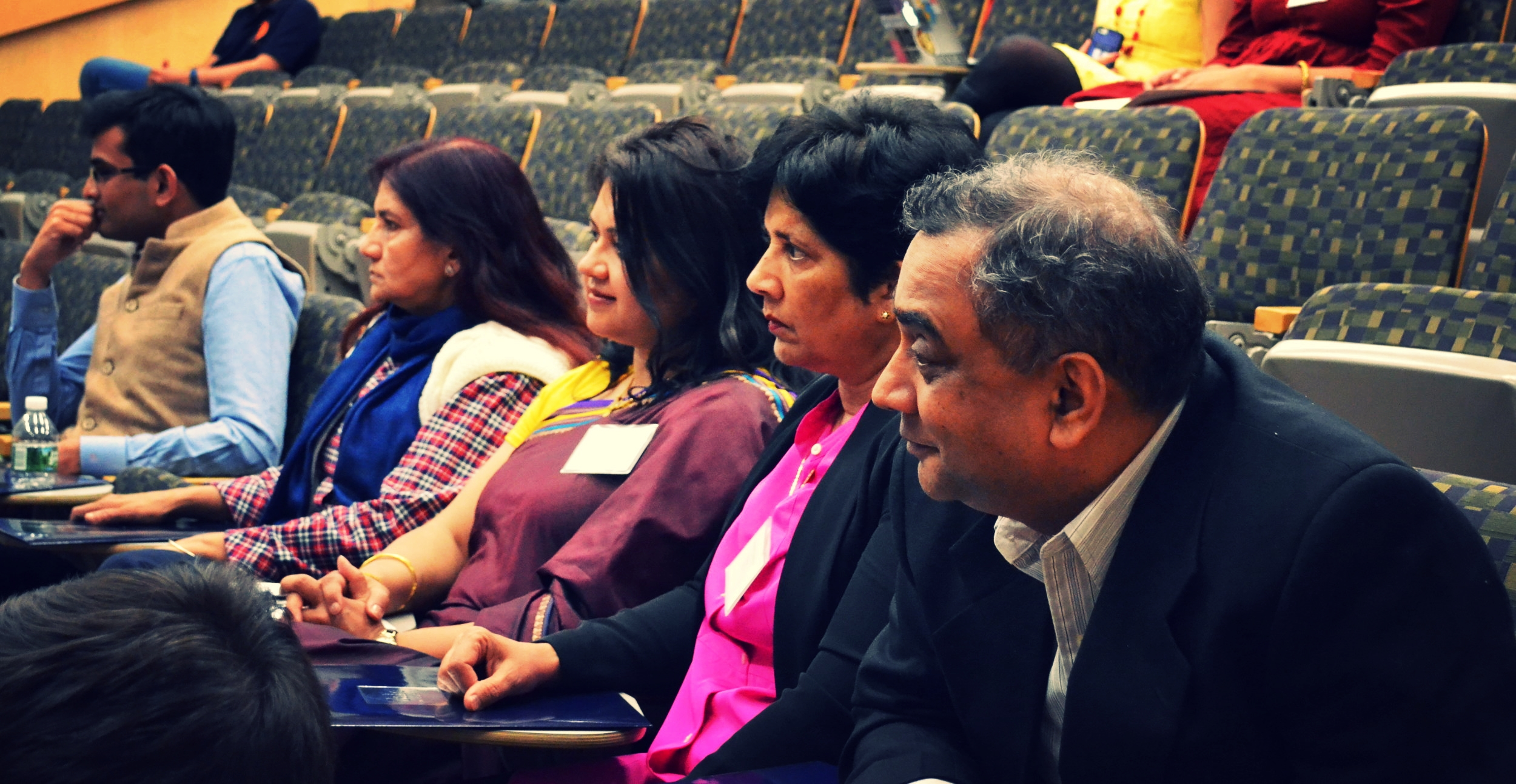Our Judges: Shikhar Singh (Yale), Dr. Shaheen Parveen (Rutgers), Patrica Sabarwal (University of Kansas), Gyanam Mahajan (UCLA), Anand Dwivedi (UPenn) - in order from left to right