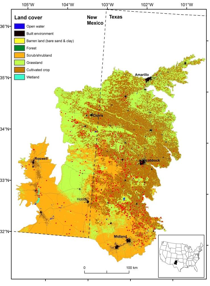 Figure 1: Location of dust emission hot spots (represented by red dots) and associated land cover characteristics in west Texas and eastern New Mexico. This map also shows numerous dust emission spots located adjacent to the main highways in this area.