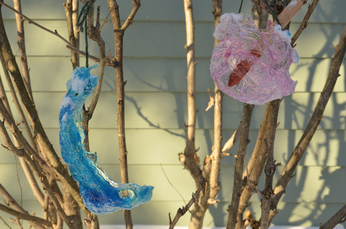 ICE ORNAMENTS MADE FROM SNOW MOLDS
