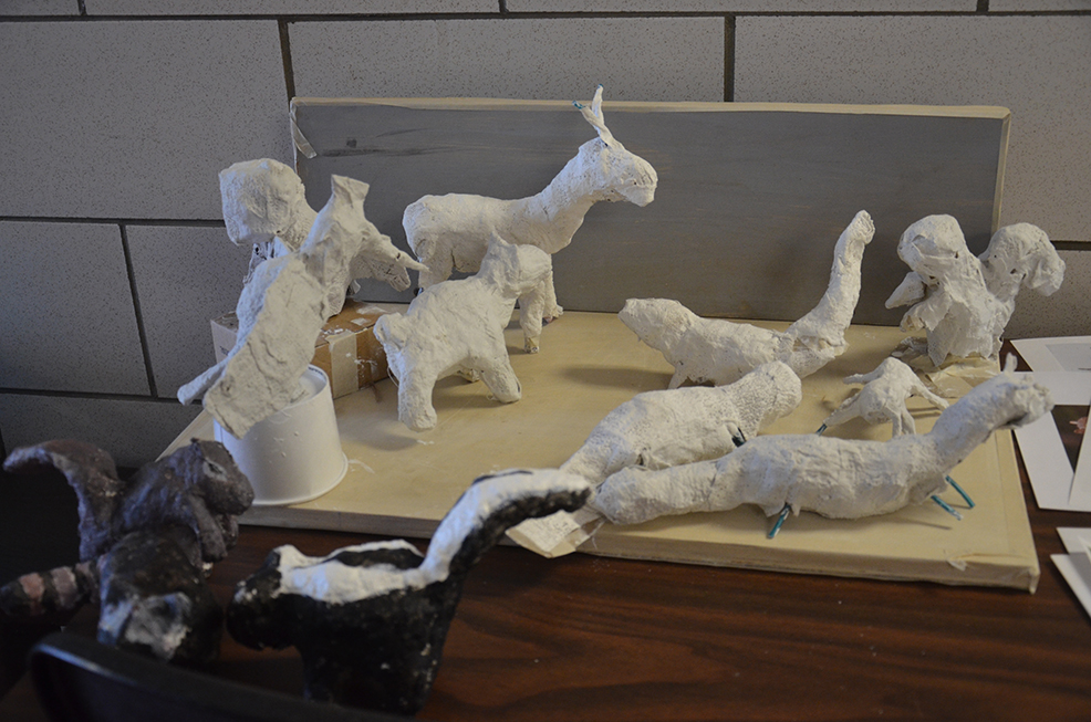 Animal armatures wrapped in plaster gauze. Next week we'll paint them.