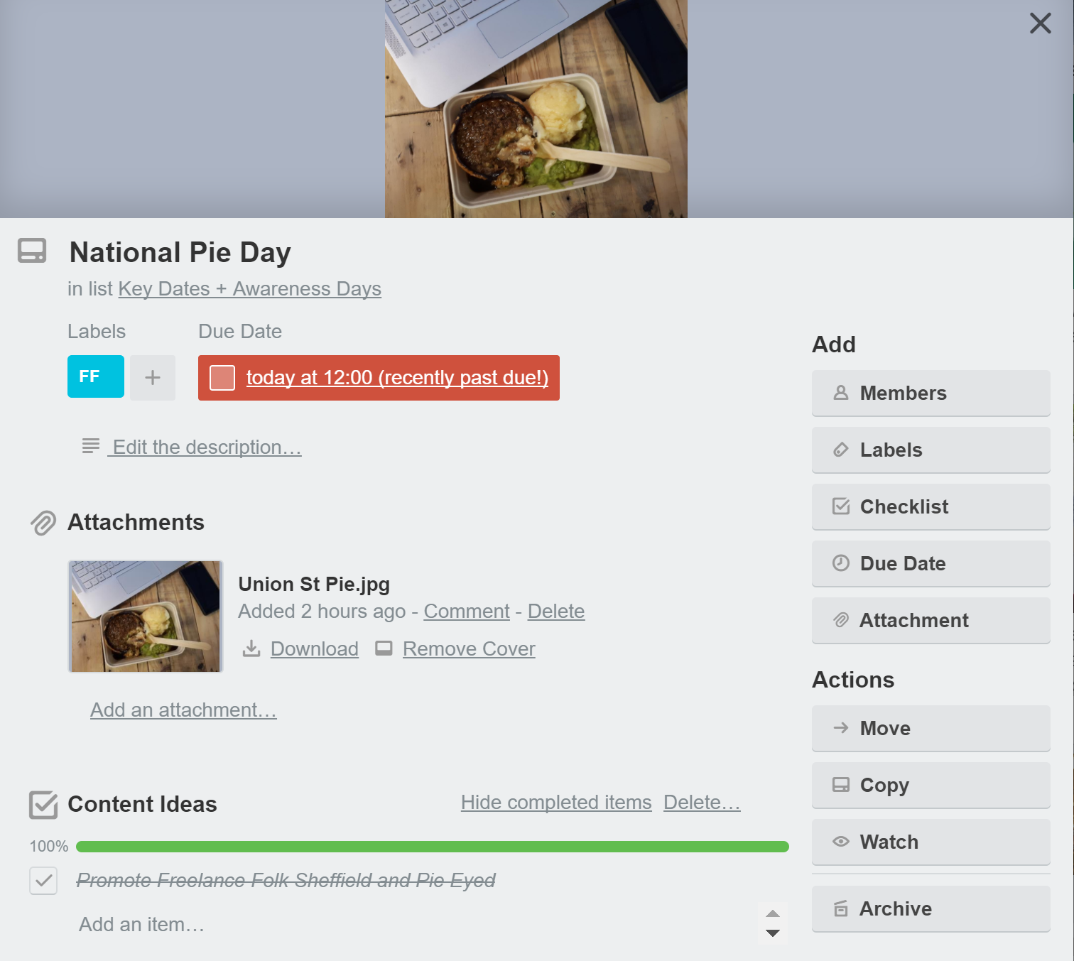 My Trello card for National Pie Day -