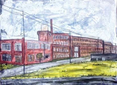 """Artist Jaime Barks shares her love of Cleveland by creating paintings of local scenes and buildings. Included in her series, """"Where I Live,"""" are the old Woolen Mill, above, a mural on the Greenway, Broad Street United Methodist Church and the Gardener's Market."""