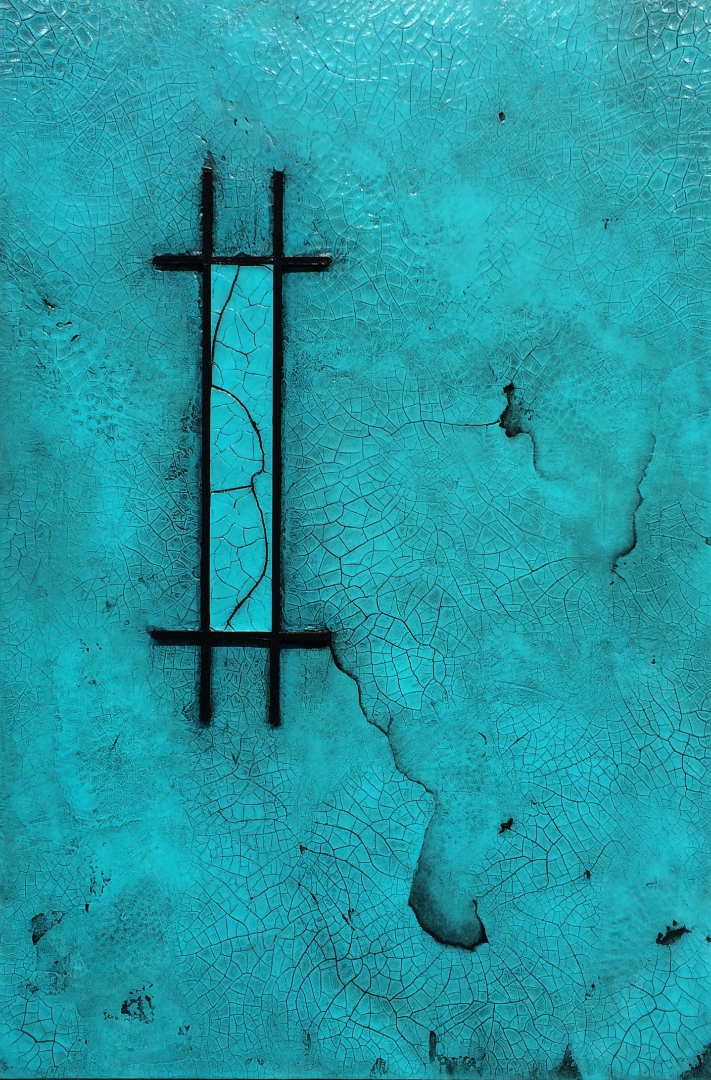 Raku Teal II - Mixed Media - 24x36