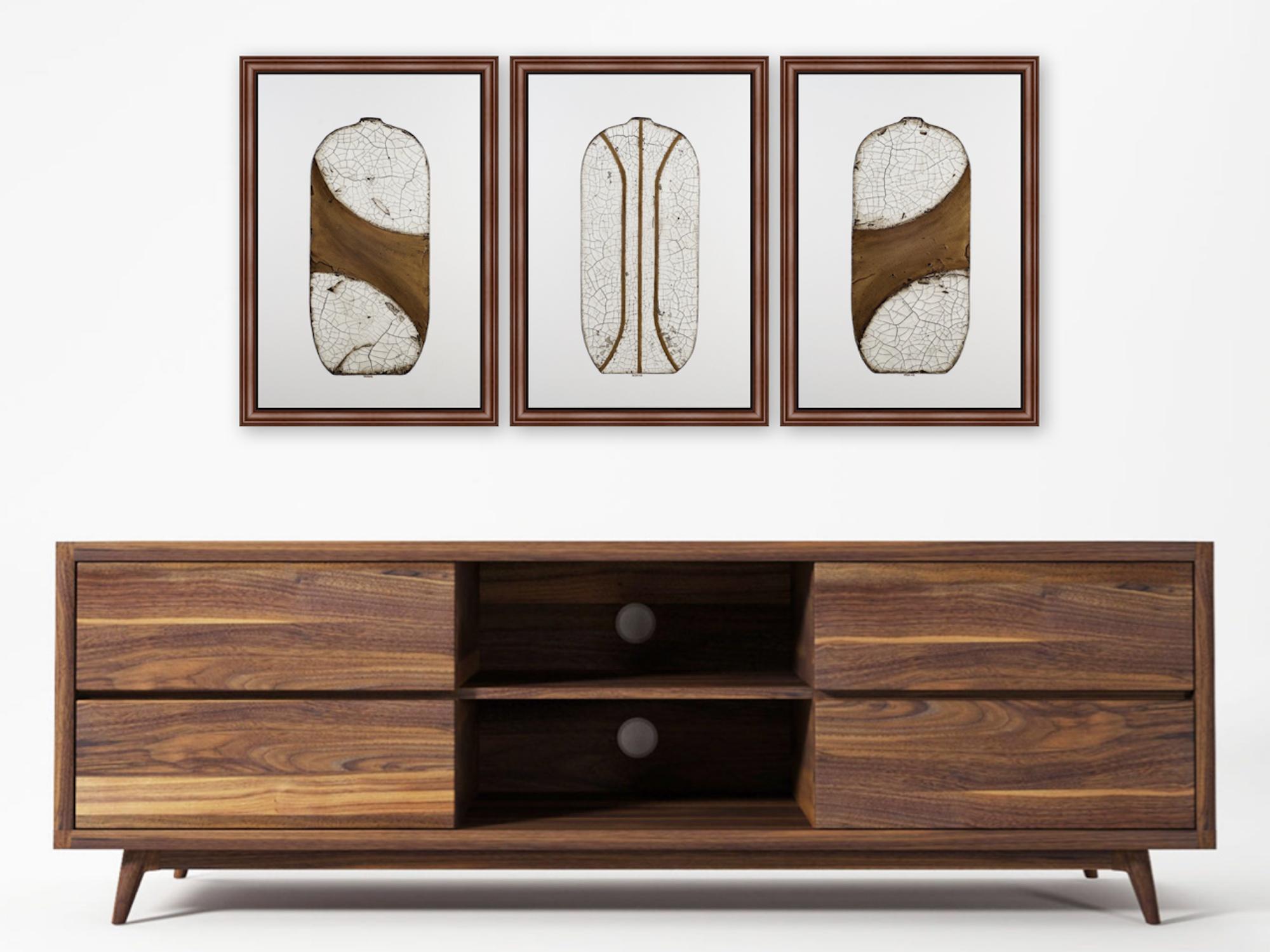 Triptych painting of raku pots by artist Terri Deskins