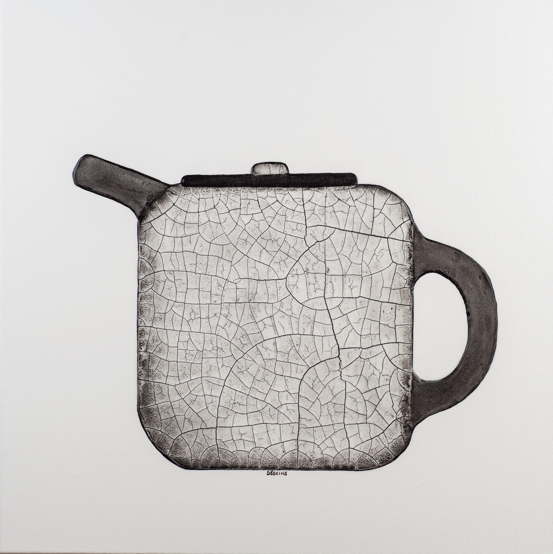 painting of a raku teapot by artist terri deskins