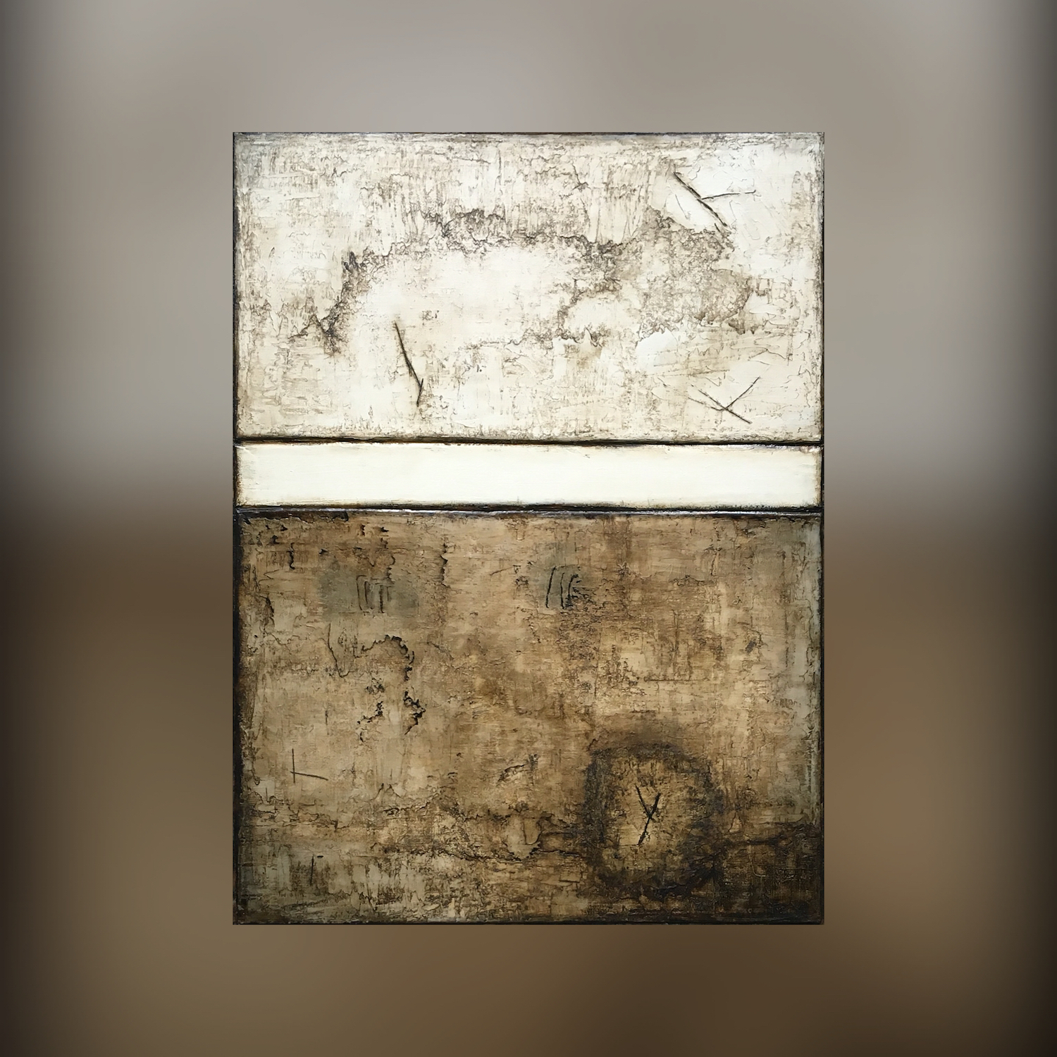 Original brown abstract art on canvas called Macchiato by Terri Deskins