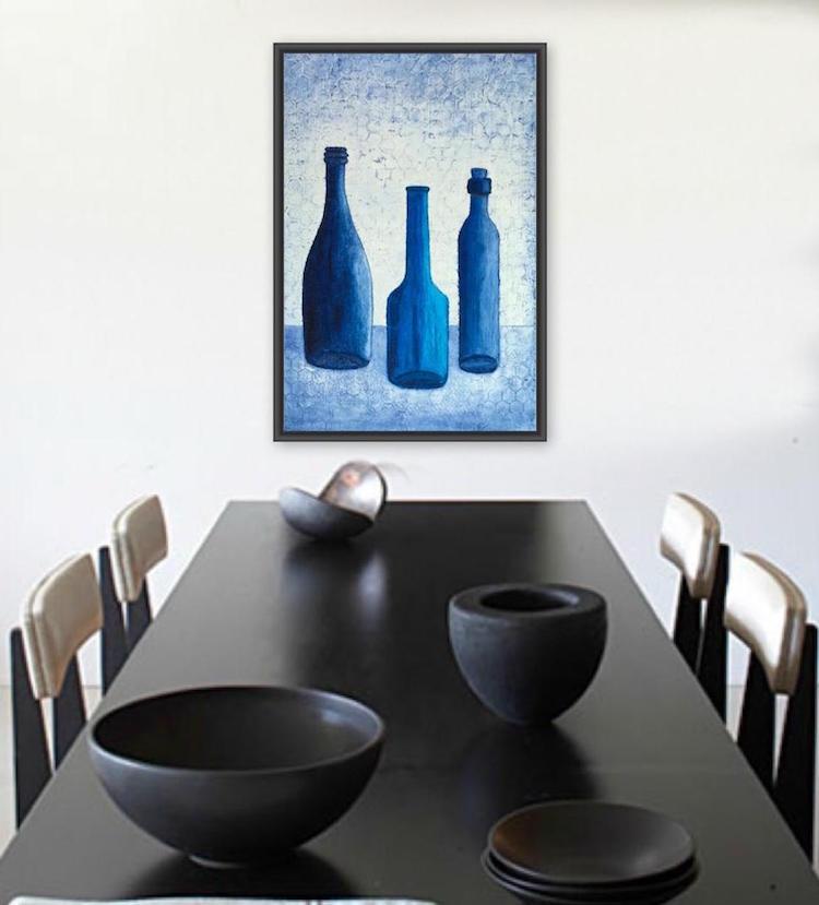 Bottle Blues still life painting by Terri Deskins