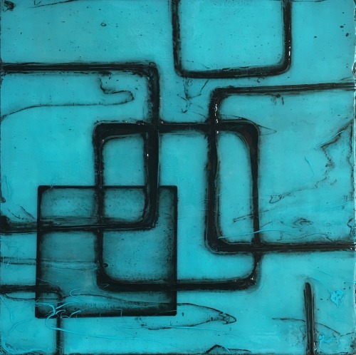 Enzo Three original modern art in blue by Terri Deskins