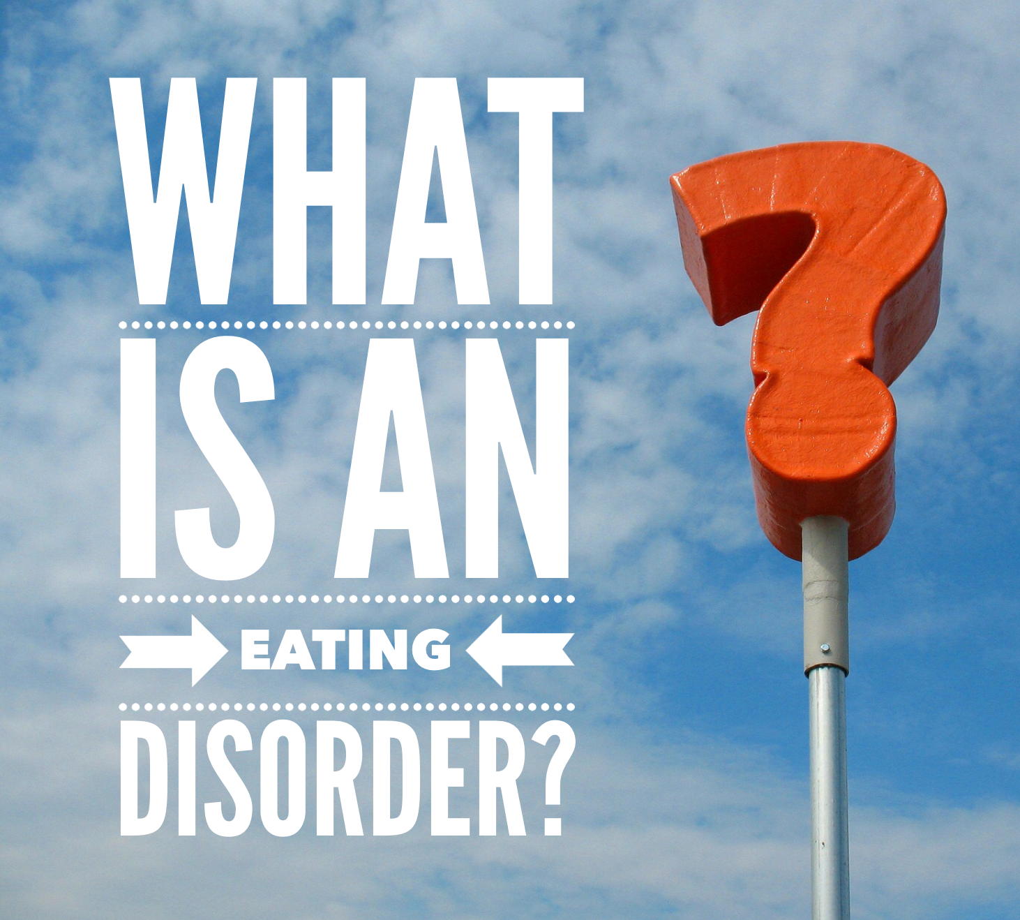 "Image is of a question mark sign with the words ""What is an eating disorder?"" written in the sky"
