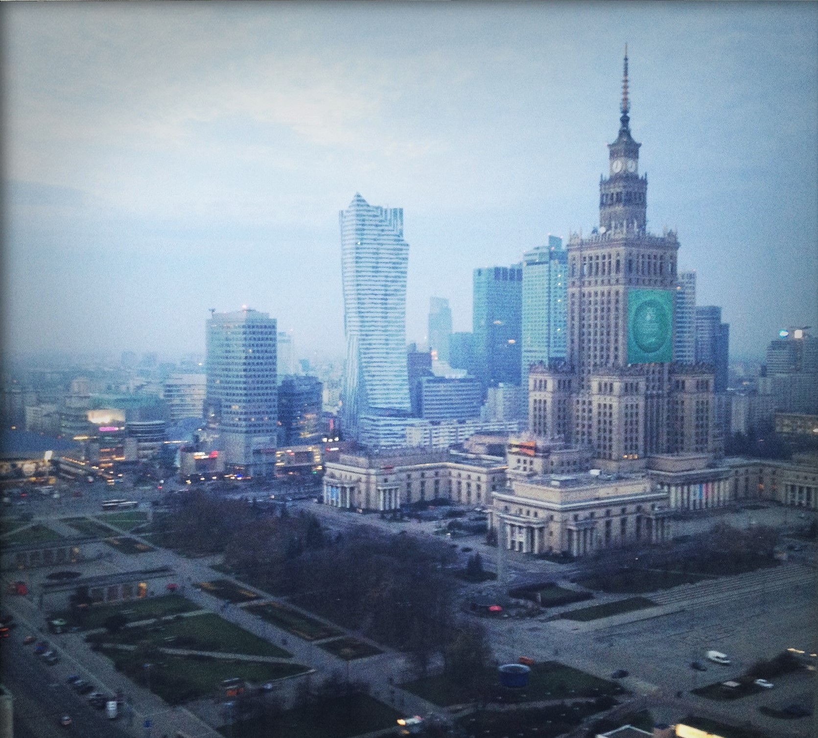 The tall spire of the Palace of Culture and Science in Warsaw, Poland -