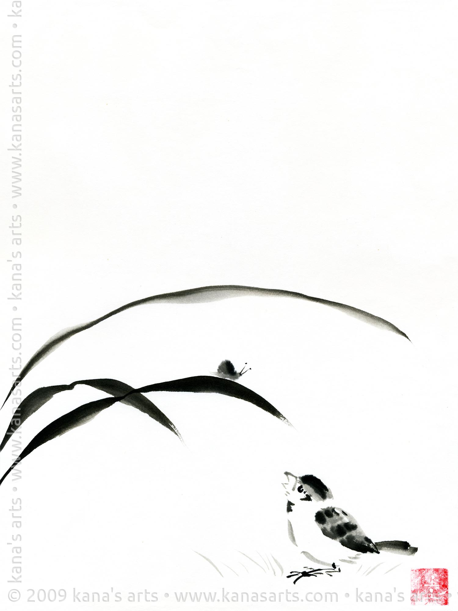 sparrow with snail