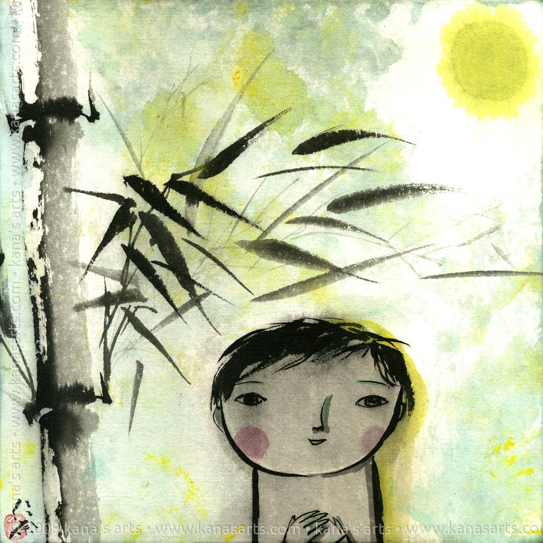 boy, bamboo, and full moon