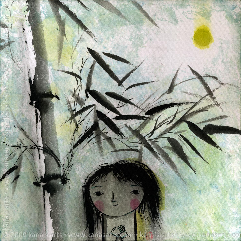 girl, bamboo, and full moon