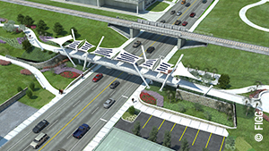 The $2.5-million Capital Cascades Connector Bridge in Tallahassee, Florida, will feature angled posts that will support both the bridge deck and the flexible fabric canopies that will shade those who pass beneath. The canopies will be fitted with solar panels that will generate power. © FIGG.