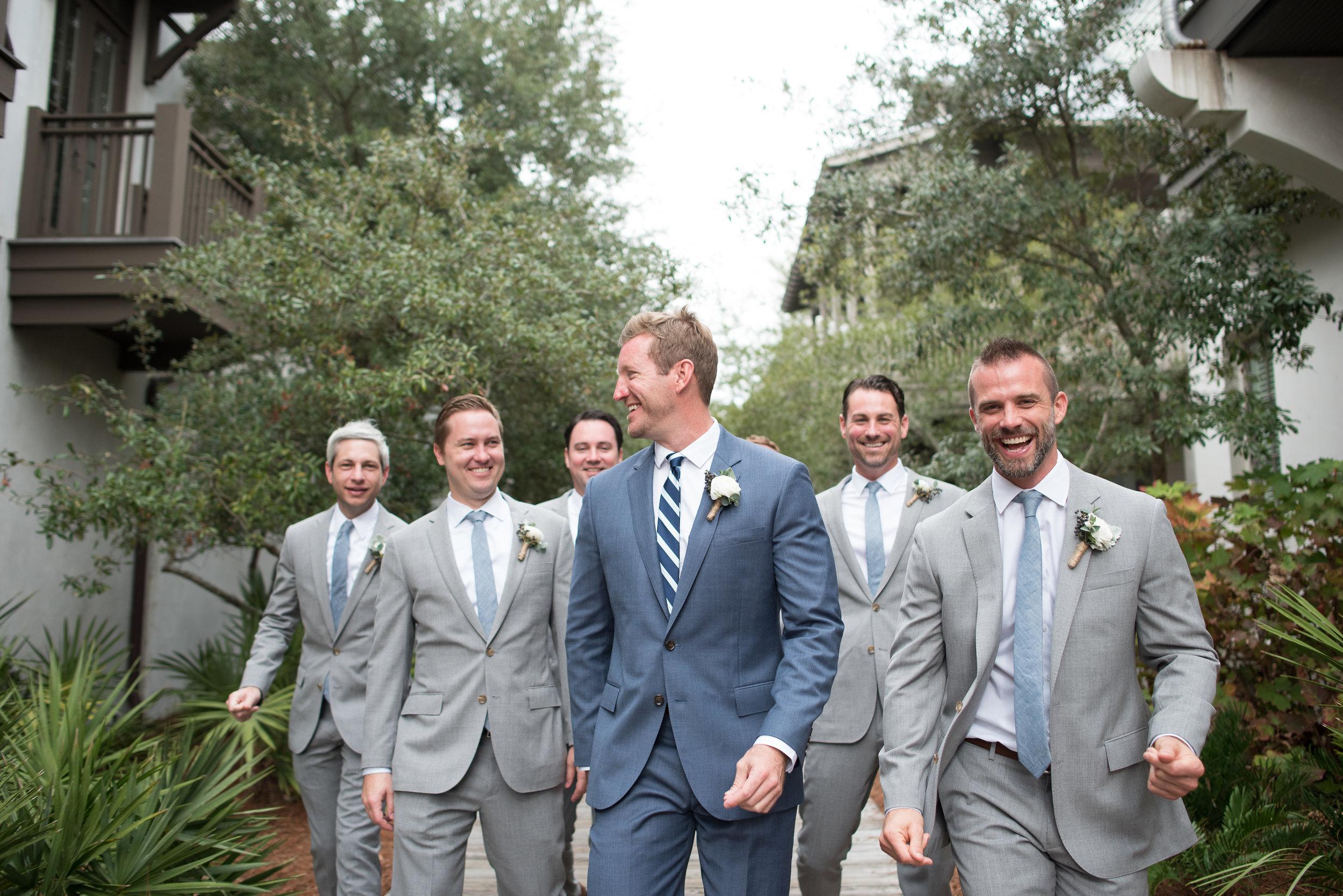 Groom with his groomsmen in Rosemary Beach, Florida wedding.
