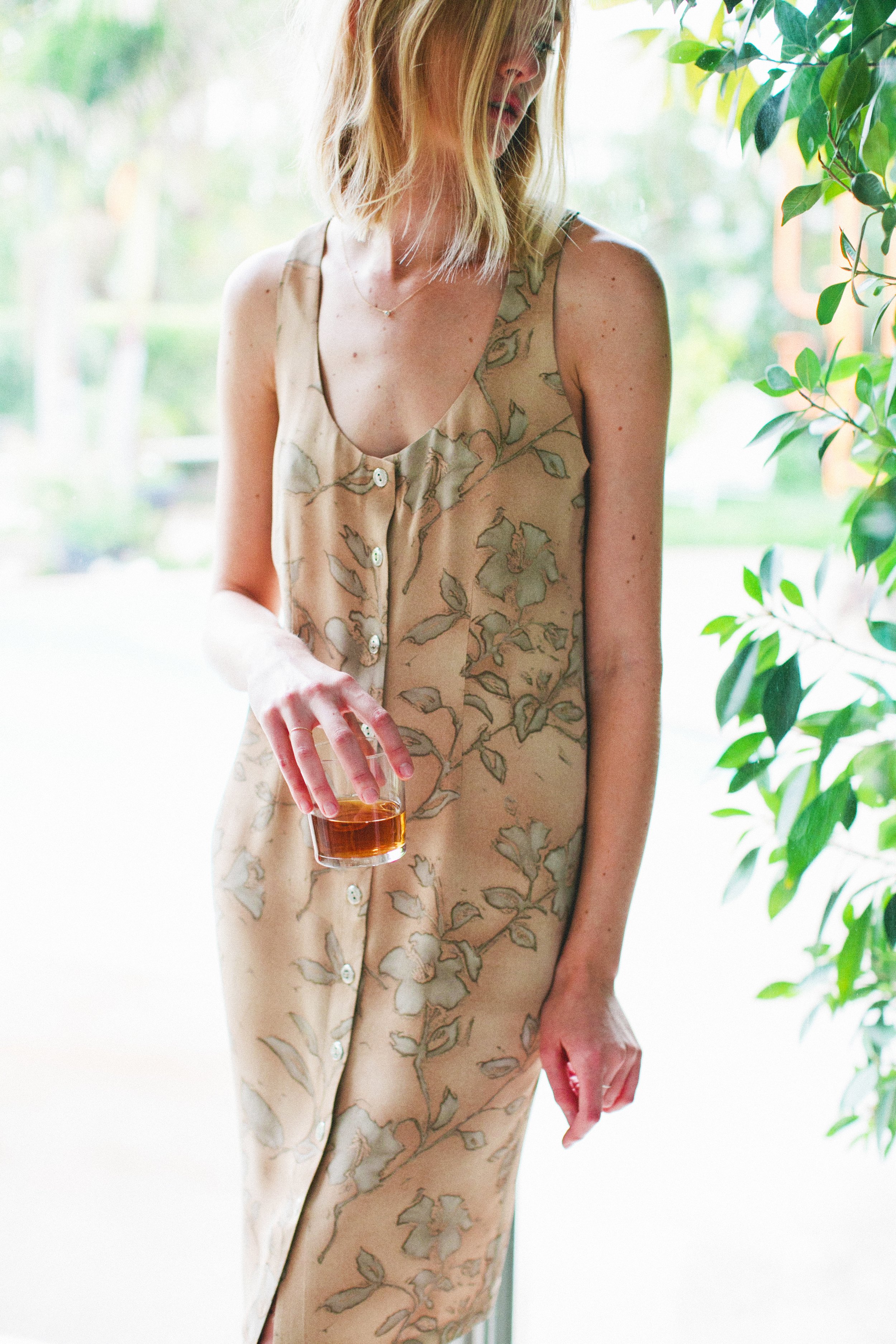 Willa Dress in Tan Floral